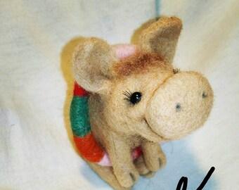 felting the pig,handmade toy,beige pig