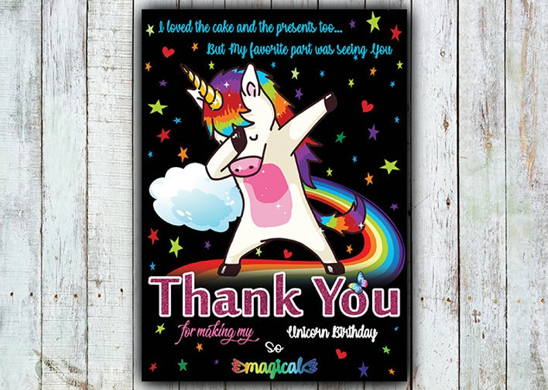 Instant Download Thank You Card Thank You Card Unicorn Thank You Dabbing Unicorn Thank You Card Digital