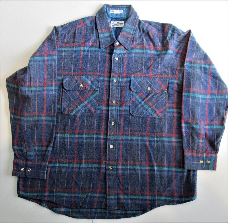 91b0fa983 Vintage Sears Roebuck Long Sleeve Acrylic Flannel Shirt Size XL