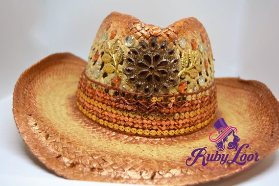 Bohemian Hand painted cowboy hat boho straw for sun  4480c952669