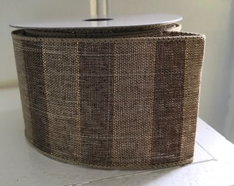 """2.5"""" Browns striped ribbon with gold sparkles Ribbon, ~4 yrds , Wired Ribbon, craft ribbon, Ribbon for Wreaths ."""