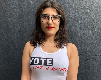 Vote Like a Mother Racer Tank in White