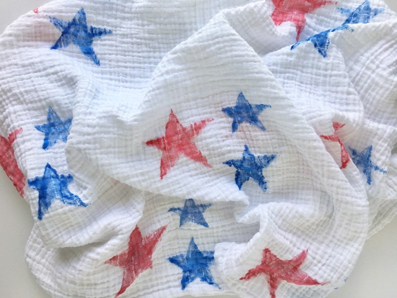 Hand-painted Baby Blankets Stars 100/% Cotton Muslin Swaddle Blanket Watercolor