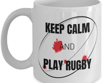Funny Rugby Novely Mug - Keep Calm and Play Rugby