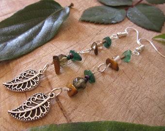 Boho Festival Hippie Drop Earrings Semi Precious Stones