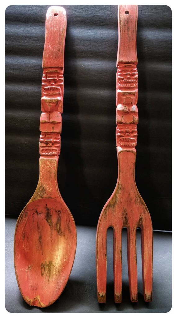 Hand Distressed Vintage Rhubarb Chalk Painted Farmhouse Utensil Wall Decor