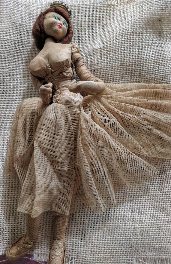 Antique Folk Art Cloth Ballerina Doll