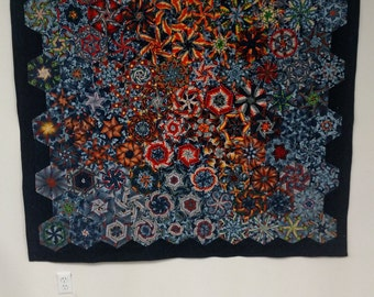 Custom geometric one block wonder quilt with dragons amazing for wall art