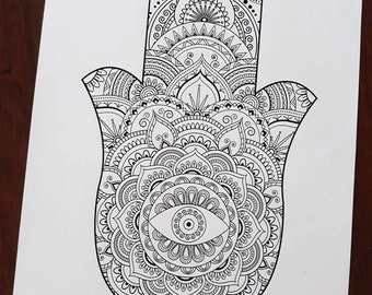 Art therapy etsy hamsa big coloring mandala poster mandala personalised with a name or a word mandala art therapy great for yoga gift do it yourself mandala solutioingenieria Gallery