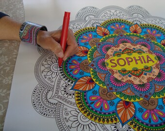 Do it yourself etsy big coloring mandala poster mandala personalised with a name or a word mandala art therapy great for yoga gift do it yourself mandala solutioingenieria Gallery