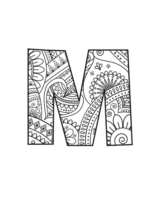 Adult Coloring Page Alphabet Download Mandala Colouring Etsy