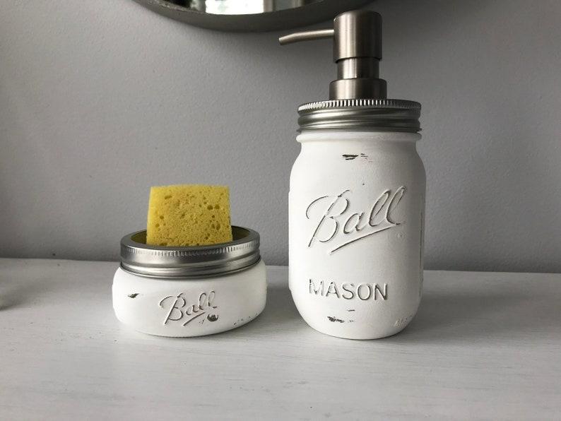 Sponge holder and soap dispenser / rustic mason jar set of 2 kitchen holders