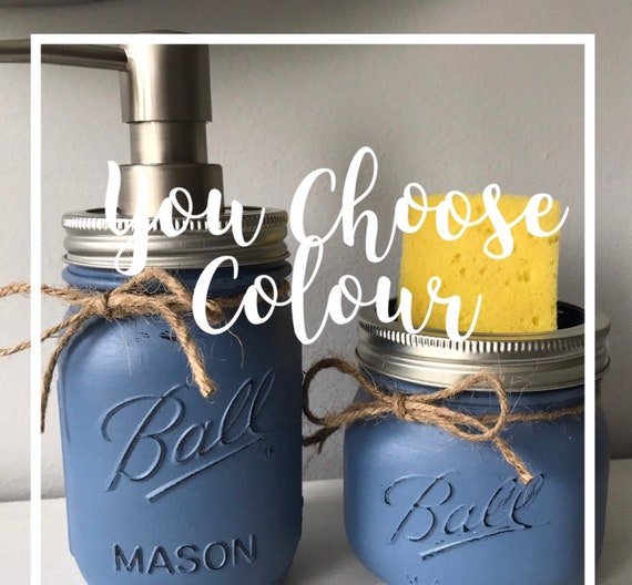 Sponge holder and soap dispenser / mason jar kitchen decor set of two