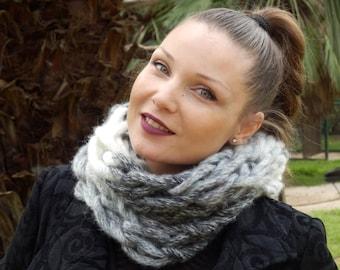 Hand knit cowl scarf-Neckwarmer- Round  scarves & wraps-handmade scarves -Chunky Scarf-Arm knitting -Bellamuti Scarf