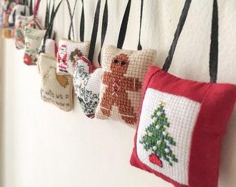 Classic Christmas Cross-stitch Mini-Ornament Set