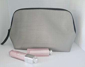 CLUTCH LOVE / Two-tone Concrete and Mock Croc black Leather clutch/ makeup bag