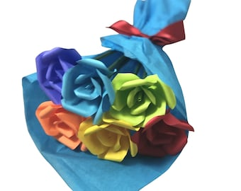 Rainbow Pride Mini Roses Paper Flower Bouquet, LGBTQ+, Pride Month, Love is love is love, Gift for Him, Gift for Her, First Anniversary