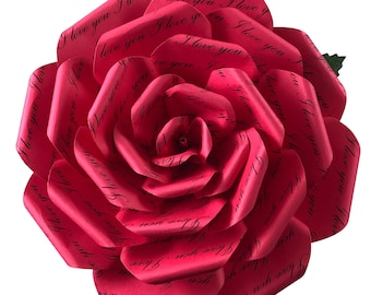 I Love You Red Paper Flower in 3 sizes, Romantic Gift for Wife, Gift for Girlfriend, First Anniversary, Mothers Day Flowers, Mothers Day