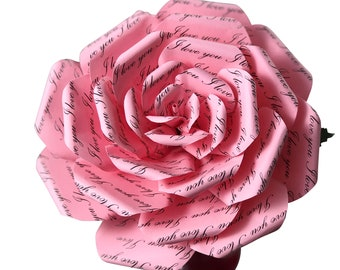 I Love You Pink Paper Flower, Romantic Gift for Wife, Gift for Girlfriend, Gift for Her, First Anniversary, Mothers Day Flowers, Mothers Day