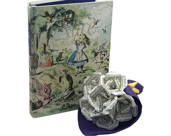 Alice in Wonderland Mini Roses Book Paper Bouquet, Literary Gift, Bookish Gift, Gift for Her, Lewis Carroll, Mad Hatter, Cheshire Cat