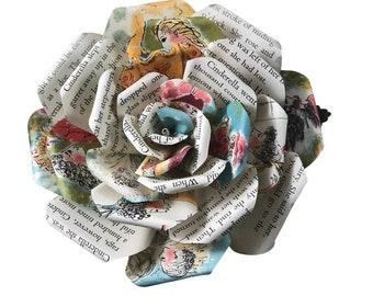 Cinderella Book Paper Flowers in 3 Sizes, Bookish Gift, Nursery Decor, Fairy Tale Decor, Wedding Flowers, Mothers Day Flowers, Mothers Day