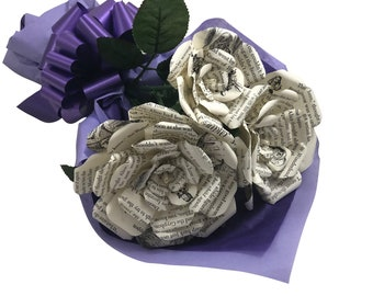 Alice's Adventures in Wonderland Book Paper Flower Bouquet, Bookish Gift, Gift for Her, Anniversary Gift, Christmas Gift, Lewis Carroll