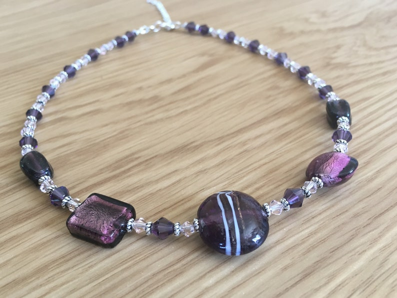 beaded necklace purple glass beaded necklace Murano glass image 0