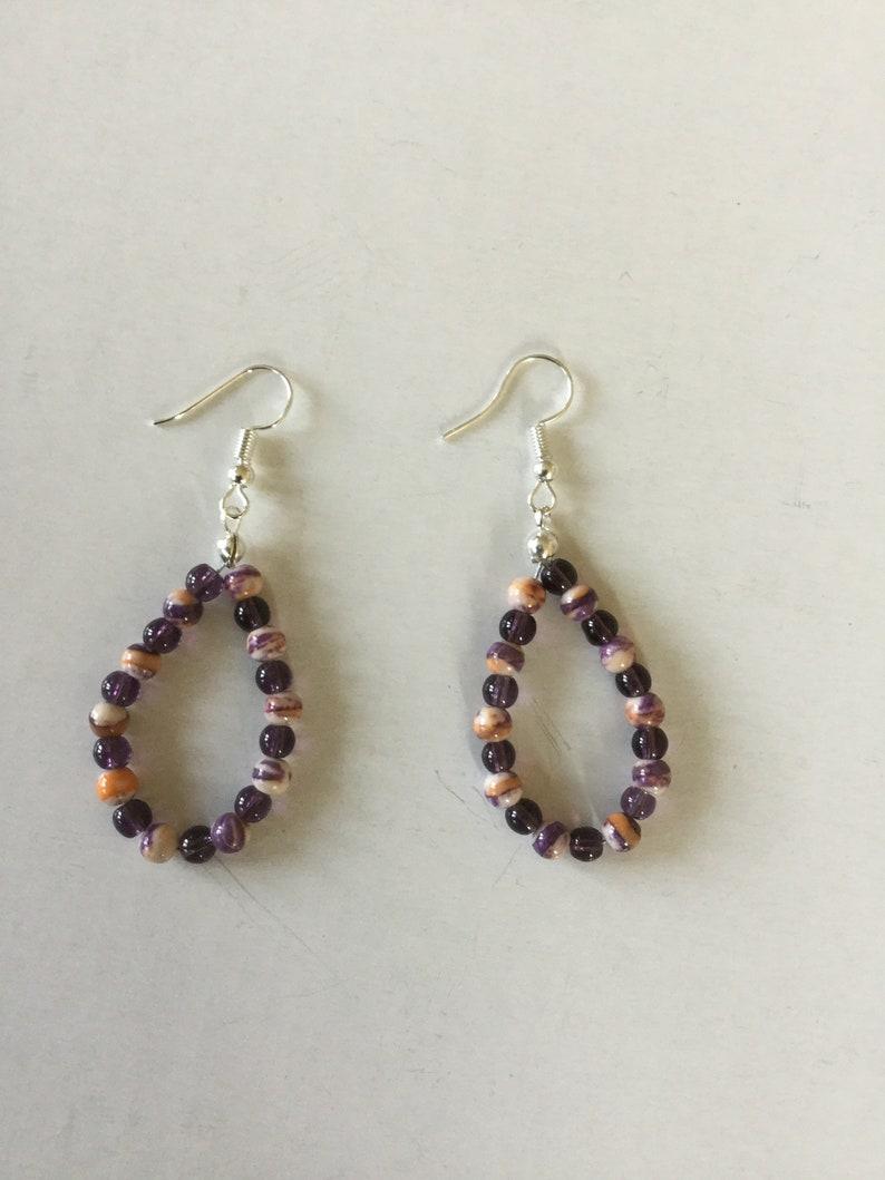 Purple and calsilica beaded earrings Beaded earrings beaded image 0