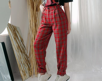 df9d7645e5fc8c 90's aesthetic Pants, Banana Pants, Women's Trousers, High waist pants,  Scottish plaid, XL,Red checkered pants, Red plaid pants, 90s, Grunge
