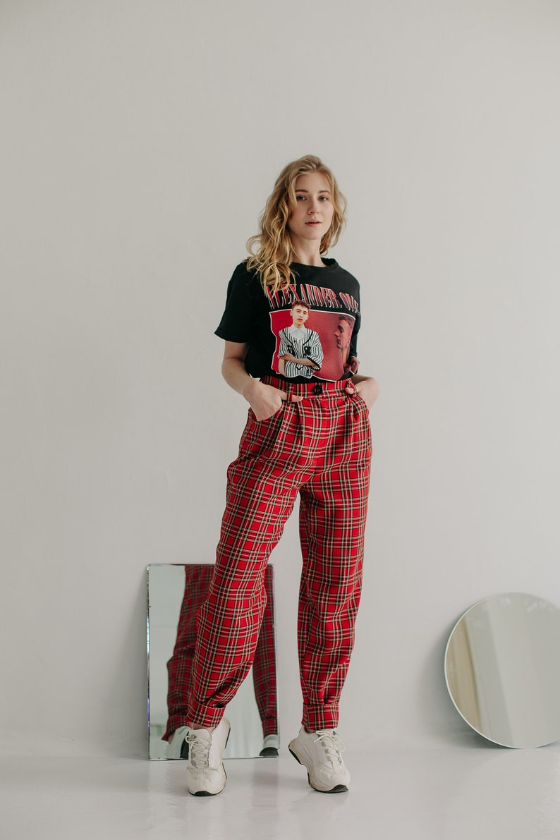 Women/'s Trousers Banana Pants Scottish plaid XL,Red checkered pants High waist pants Grunge Red plaid pants 90s 90/'s aesthetic Pants
