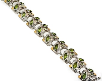 Sterling Silver Peridot Two Tone 9 ct gold bracelet