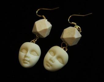 Vintage Geometric Resin Facial Earrings, Unique Design for Her Gift, Holiday Gift