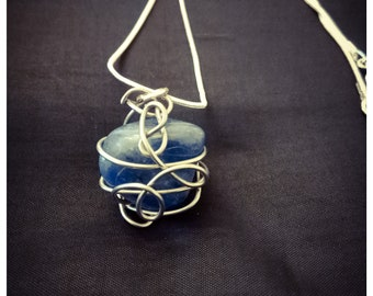 Blue quartz necklace unique style handmade stainless steel and silver