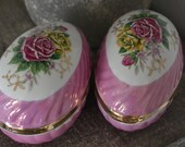 Pair Of Vintage Pink Porcelain Eggs, Pink Porcelain Trinket box, Jewelry Box, Trinket Dish Pink And Yellow Rose Decor, Lustreware Egg,
