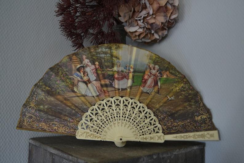 Francisco De Goya La Gallinita Ciega, Romantic Victorian Antique Silk Hand Fan Spanish Hand Fan