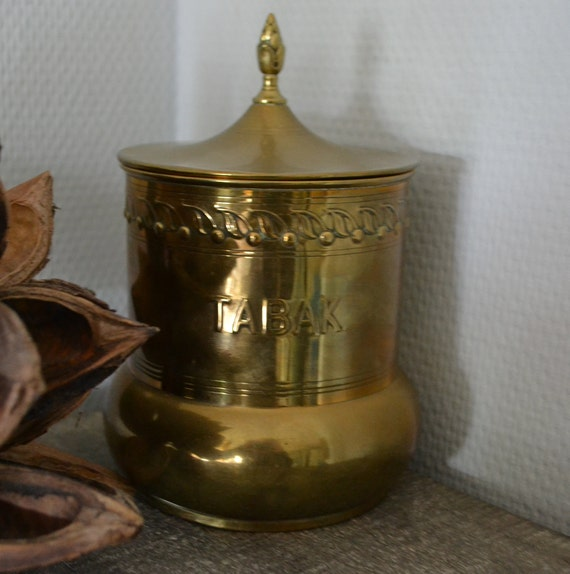 Vintage Brass Tobacco Jar, With Band Of Cherries,