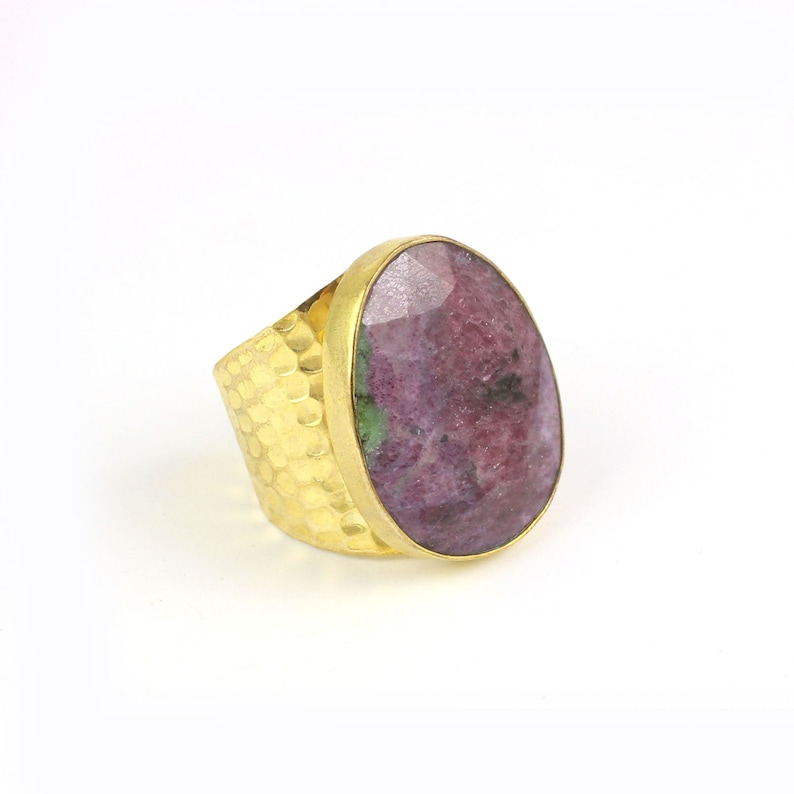 Ruby Zoisite and Lapis Lazuli  18 gold plated Brass Fancy shape adjustable ring