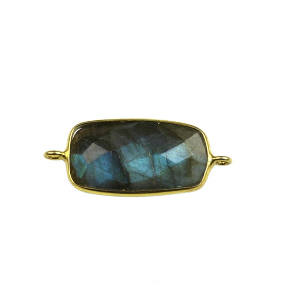 Fancy Black Real Fire Labradorite Gold Electroplated Connector Gemstone Jewelry