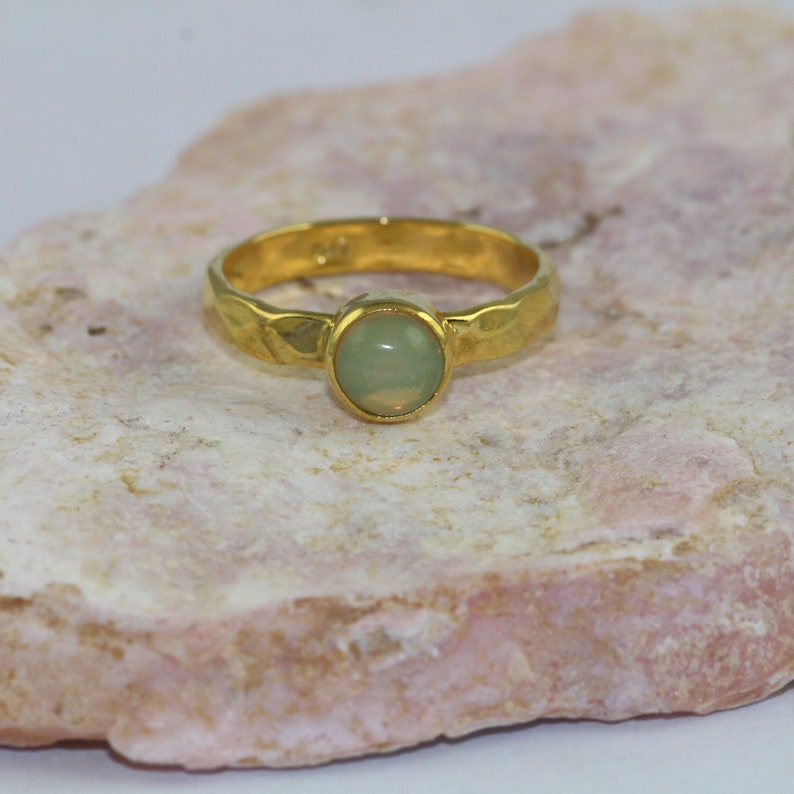 hammered ring gold plated Round shape ring Opal 925 sterling silver ring