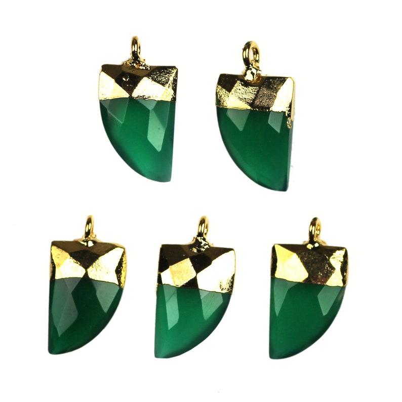 Chalcedony Onyx Monalisa /& Turquoise Gold Plated Half Moon Connector Jewelry