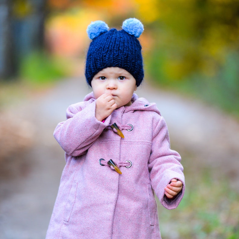 8e0d847f2e0 WInter beanie hat for kids Pompom kids hat 100% merino wool