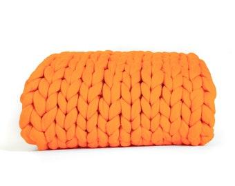 Orange Chunky Knit Blanket, Orange Super Chunky Knit Throw, Giant Knit Blanket, Orange Merino Wool Blanket,  Orange blanket