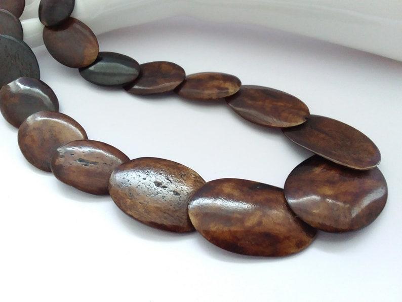 Vintage Carved Bone Necklace Stylish Danish Scandi Inspired Organic Necklace Modernist Brown Bone Disc Statement Necklace