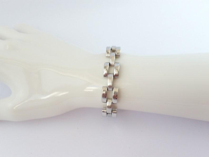 Retro modernist bracelet Tank Track bracelet Vintage machine age style silver tone bracelet therapy bracelet brick design