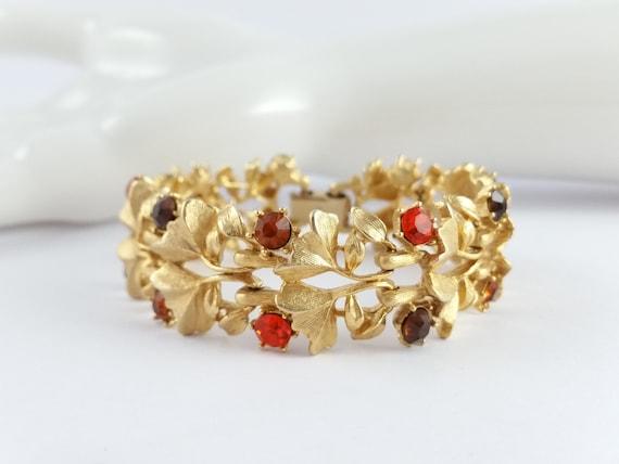 Rhinestone Necklace Bracelet Set Signed Weiss Creamy Beige Striped Art Glass /& Gold Rhinestones Vintage 1950s 1960s Fall Formal Jewelry