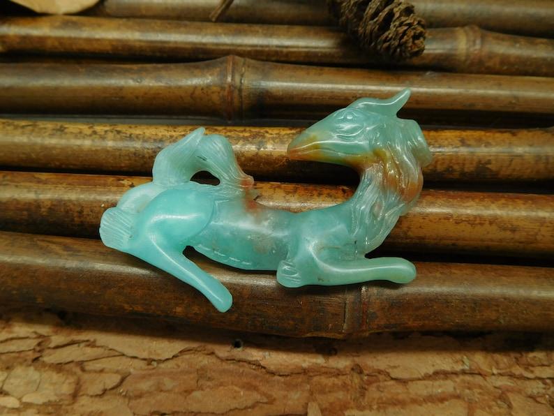 Animal Lover Animal Bead Dragon Bead Unique Gift Carved Amazonite Horse Carved Pegasus Pendant Amazonite  Carving C0080