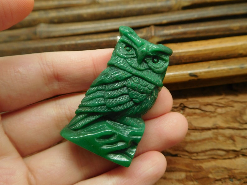 Natural Carving African Jade Handmade Stone Gemstone Kit for Jewelry Supply Best Gifts Green African Jade Owl Carving Bead B2267