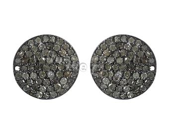 98dae4eb7 Round Diamond Silver Stud Earring .925 Oxidized Sterling Silver Diamond  Earring, Genuine handmade pave diamond Earring.