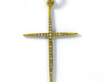 DBDS-0172 Diamond Rectangle Cross Charm,Rectangle Cross Diamond Necklace Pave Diamond Pendant Pave Cross Diamond Pendant
