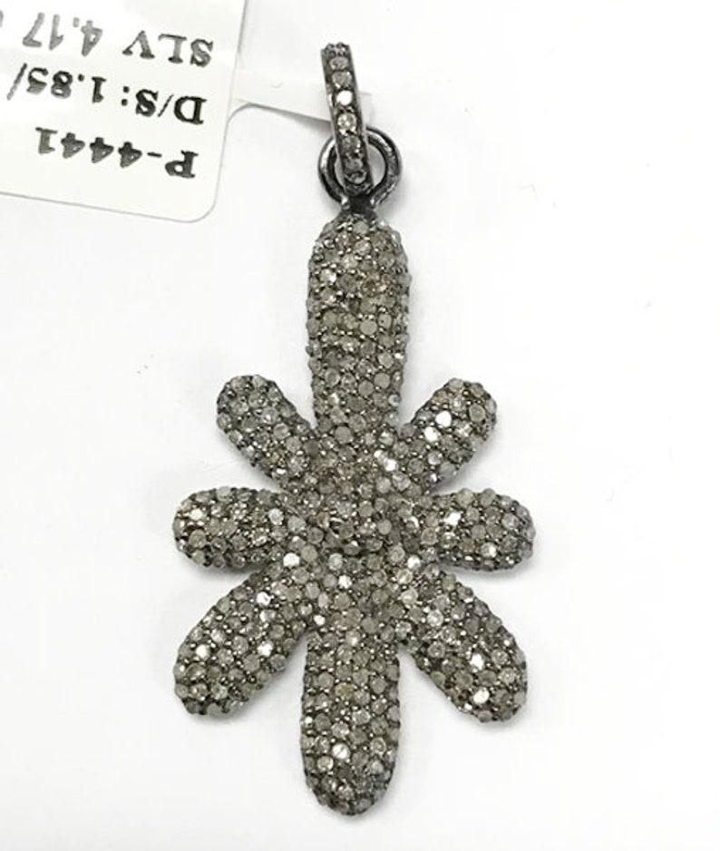 Diamond charm. Flower Shape Diamond Pendants .925 Oxidized Sterling Silver Diamond charm
